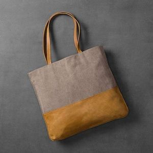 Large Shoulder Bag, Canvas and faux leather.